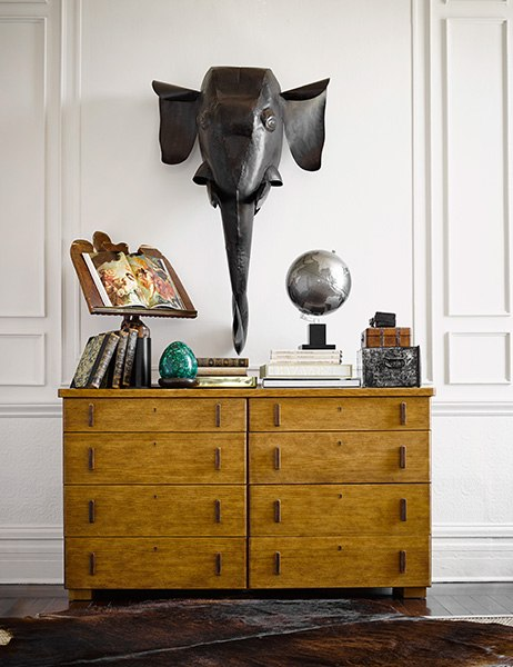 The Keyhole Collection consists of mixed-wood-grain pieces reminiscent of items Fulk grew up with in Virginia.