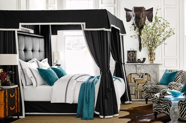 The Signature canopy bed is modeled after Fulk's custom bed in his San Francisco loft.