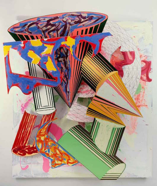 Frank Stella, Gobba, zoppa e collotorto, 1985. Oil, urethane enamel, fluorescent alkyd, acrylic, and printing ink on etched magnesium and aluminum. 137 x 120 1/8 x 34 3/8 in. (348 x 305 x 87.5 cm). The Art Institute of Chicago; Mr. and Mrs. Frank G. Logan Purchase Prize Fund; Ada Turnbull Hertle Endowment 1986.93. © 2015 Frank Stella/Artists Rights Society (ARS), New York.
