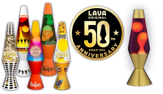 Lava Lamp Celebrates 50 Years Along with The Beatles' 13 Album Releases! Limited-Edition Anniversary Collection Lava Lamp (?right?), plus The Beatles and Yellow Submarine Themed Lava Lamps available on www.lavalite.com September 1! (PRNewsFoto/Lava Lite, LLC)