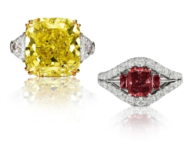 "Left: ""The Golden Muse"" 25.71-Carat Fancy Vivid Yellow Diamond Ring. Right: ""The Trilogy"" 1.59-Carat Argyle Fancy Red Diamond Ring. GIA Certified. For more information visit theoneandonlyone.com (PRNewsFoto/The One and Only One(TM))"