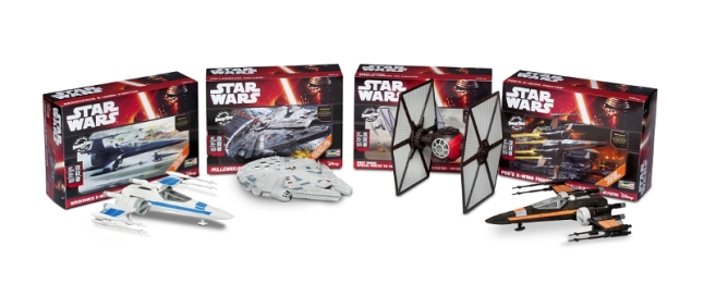 Revell's first four kits in the series deliver hyper-realistic replicas of the new movie's Millennium Falcon(TM), Poe's X-Wing Fighter(TM), Resistance X-Wing Fighter(TM) and First Order Special Forces Tie Fighter(TM) - complete with moving parts like retractable landing gear, open/close cockpit hatches, wings that open into attack mode, and even battle action lights and sounds. (PRNewsFoto/Revell Inc.)
