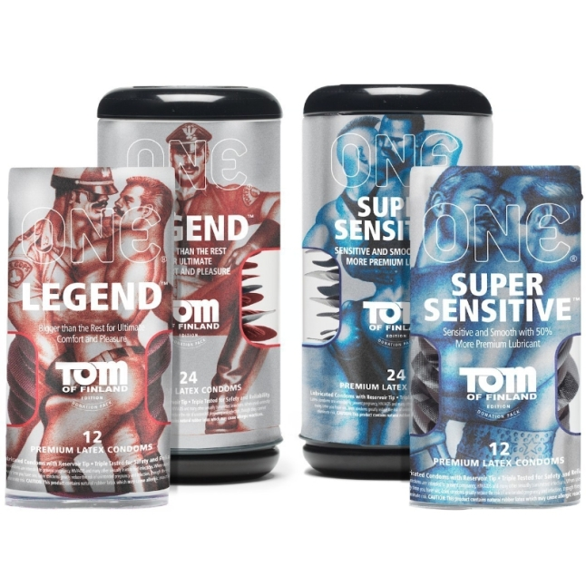 Tom of Finland Condoms from ONE(R): Available in Super Sensitive and Legend styles, 12-pack, 24-pack, and bowls of 100. (PRNewsFoto/Global Protection Corp.)