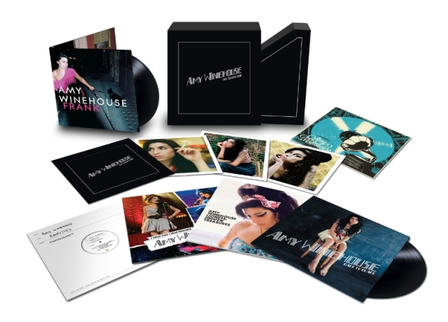 Amy Winehouse - The Collection box set, to be released on December 11th, is a lovingly assembled and beautifully packaged collection. Each LP will be pressed onto 180-gram vinyl and the box will also include a bespoke litho print and an exclusive set of photographs taken from the commissioned photo sessions for Frank and Back To Black. (PRNewsFoto/Universal Music Enterprises)