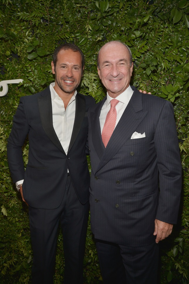 BEVERLY HILLS, CA - SEPTEMBER 09:  Creative Director for Salvatore Ferragamo Massimiliano Giornetti (L) and CEO & group managing director for Salvatore Ferragamo Michele Norsa attend as Ferragamo Celebrates 100 Years in Hollywood at the newly unveiled Ferragamo boutique on September 9, 2015 in Beverly Hills, California.  (Photo by Charley Gallay/Getty Images for Ferragamo)