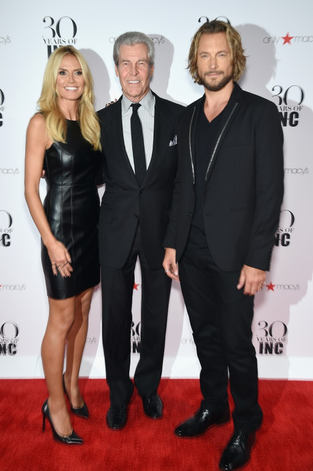 L-R) Heidi Klum, President and CEO, Macy's Terry Lundgren and Gabriel Aubry attend Heidi Klum + Gabriel Aubry's celebration of the launch of INC's 30th Anniversary Collection at IAC Building on September 10, 2015 in New York City.  (Photo by Dimitrios Kambouris/Getty Images for Heidi Klum)