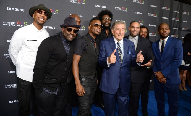 NEW YORK, NY - SEPTEMBER 17:  Tony Bennett (C) and The Roots attend Samsung Hope For Children Gala 2015 at Hammerstein Ballroom on September 17, 2015 in New York City.  (Photo by Kevin Mazur/Getty Images for Samsung)