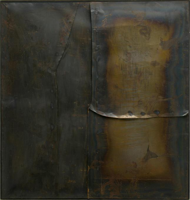 Grande ferro M 4 (Large Iron M 4), 1959  Welded iron sheet metal and tacks on wood framework, 199.8 x 189.9 cm  Solomon R. Guggenheim Museum, New York 60.1572  © Fondazione Palazzo Albizzini Collezione Burri, Città di Castello/2015 Artist Rights Society (ARS), New York/SIAE, Rome  Photo: Kristopher McKay © Solomon R. Guggenheim Foundation, New York