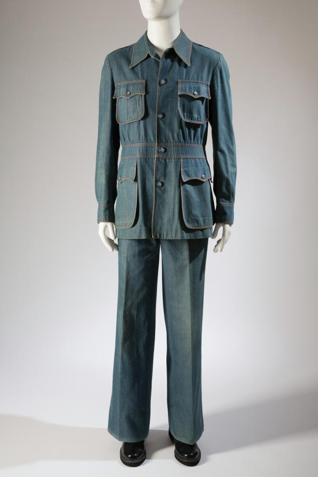 Raphael, leisure suit, denim, circa 1973, Italy, gift of Chip Tolbert. Photograph courtesy of The Museum at FIT.