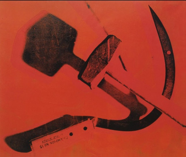 Image Credit: Andy Warhol, Hammer & Sickle, 1976, acrylic and silkscreen on primed canvas, 72 x 86 inches (182.9 x 218.4 cm). © Andy Warhol Foundation for the Visual Arts, Inc. / Artists Rights Society (ARS), New York, 2015.