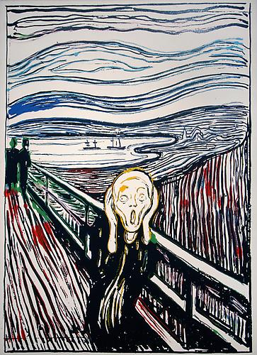 Andy Warhol, The Scream (After Edvard Munch), 1984, Synthetic polymer paint and silkscreen ink on canvas, 52 x 38 inches (132.1 x 96.5 cm)