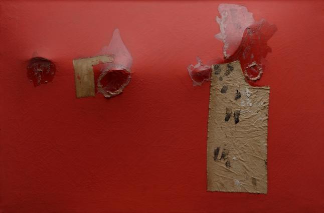 Rosso gobbo (Red Hunchback), 1953 Acrylic, fabric, and resin on canvas; metal rod on verso, 56.5 x 85 cm Private collection, Rome © Fondazione Palazzo Albizzini Collezione Burri, Città di Castello/2015  Artists Rights Society (ARS), New York/SIAE, Rome