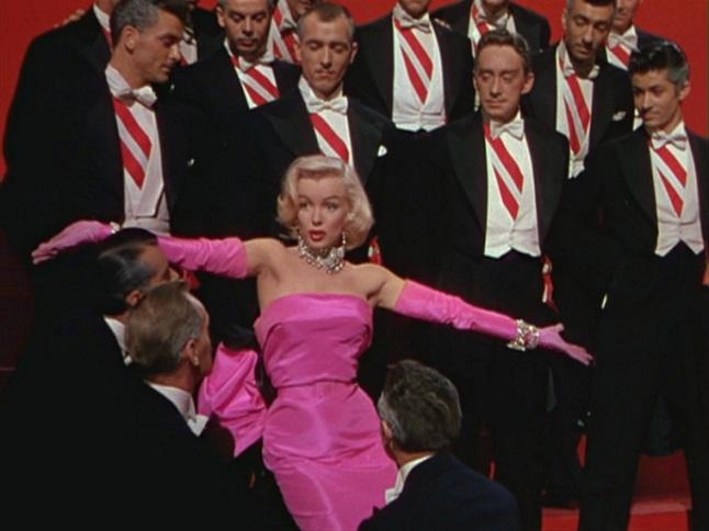 """Gentlemen Prefer Blondes"" Movie Trailer Screenshot: Marilyn Monroe Performing 'Diamonds Are a Girl's Best Friend' in Gentlemen Prefer Blondes (1953)"