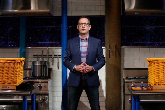Host Ted Allen is seen on the set of Food Network's Chopped Junior, Season 1.