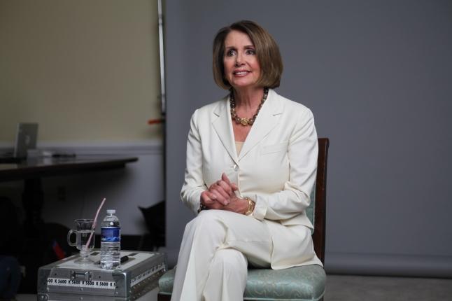 "Nancy Pelosi on the set of ""American Masters: The Women's List."" Credit: ©Greenfield-Sanders Studio"