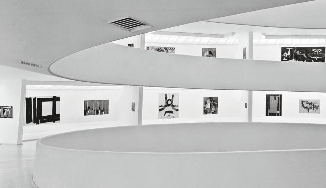 Installation View: Inaugural Selection, Solomon R. Guggenheim Museum, New York, October 21, 1959–June 19, 1960 Third from left: Alberto Burri's Legno e bianco 1 (Wood and White 1, 1956) Photo: © Solomon R. Guggenheim Foundation, New York