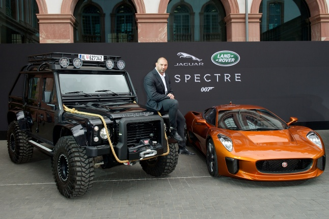 Spectre cast members David Bautista are reunited with Jaguar Land Rover stunt vehicles from the film ahead of their international debut at the 2015 Frankfurt Auto Show  in Frankfurt, Germany