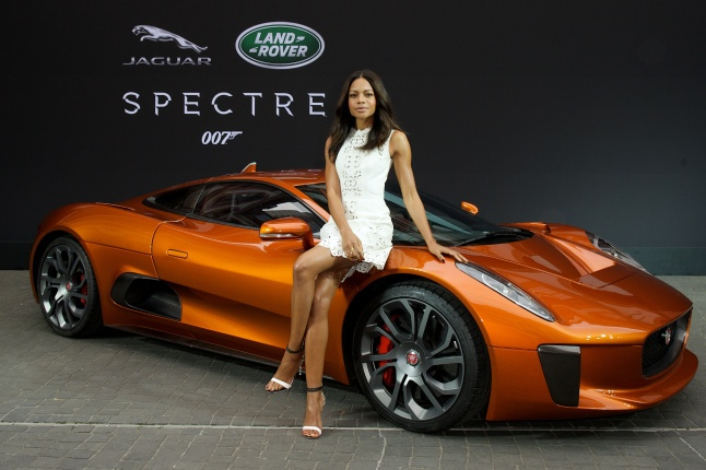 Spectre cast members Naomie Harris  is reunited with Jaguar Land Rover stunt vehicles, including the Jaguar C-X75, from the film ahead of their international debut at the 2015 Frankfurt Auto Show in Frankfurt, Germany