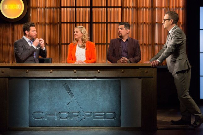 Judges Scott Conant, Amanda Freitag and Aarón Sánchez with host Ted Allen on Food Network's Chopped
