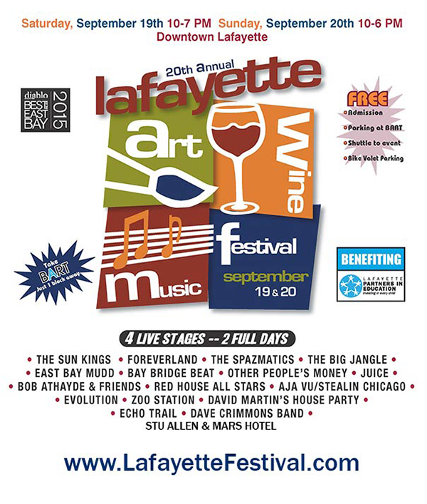 Lafayette Art & Wine Festival 2015 is Sept 19 & 20Lafayette Art & Wine Festival 2015 Graphic