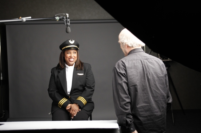 """Nia Wordlaw and """"American Masters: The Women's List"""" filmmaker/photographer Timothy Greenfield-Sanders on the set of """"American Masters: The Women's List."""" Credit: ©Greenfield-Sanders Studio"""