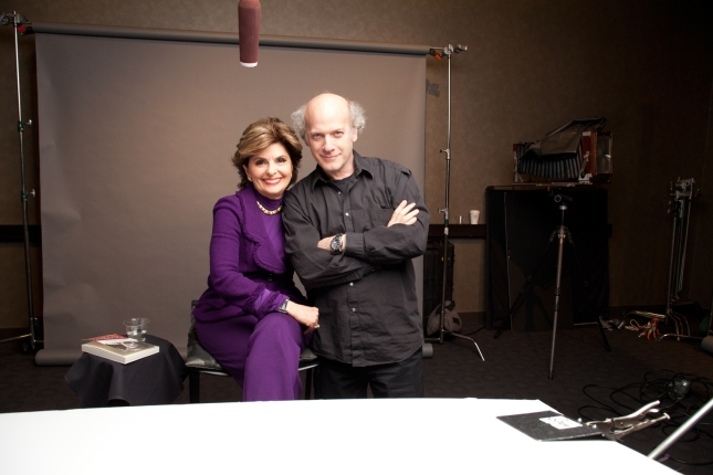 "Gloria Allred and ""American Masters: The Women's List"" filmmaker/photographer Timothy Greenfield-Sanders on the set of ""American Masters: The Women's List."" Credit: ©Greenfield-Sanders Studio"