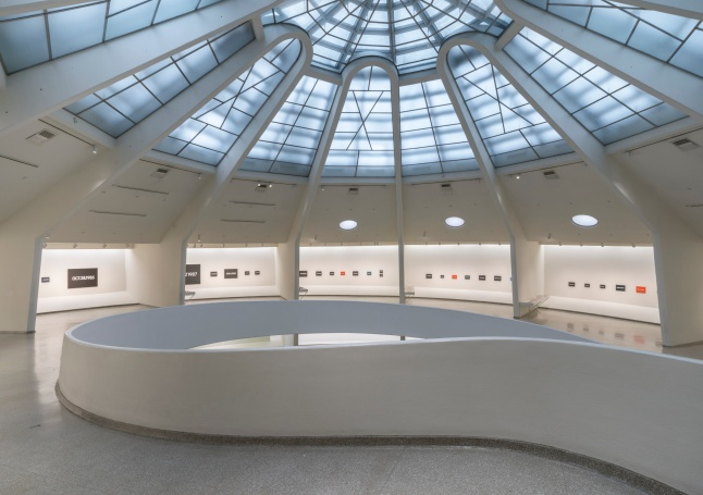 Installation view: On Kawara—Silence, Solomon R. Guggenheim Museum, New York, February 6–May 3, 2015. Photo: David Heald © The Solomon R. Guggenheim Foundation