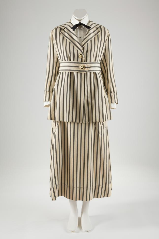 Walking suit, striped denim, circa 1915, USA, museum purchase. Photographcourtesy of The Museum at FIT.