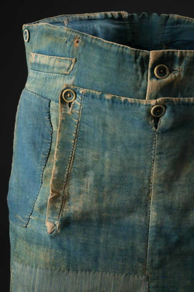 Men's work pants, denim and brushedcotton, circa 1840, USA, museumpurchase. Photograph courtesyof The Museum at FIT.