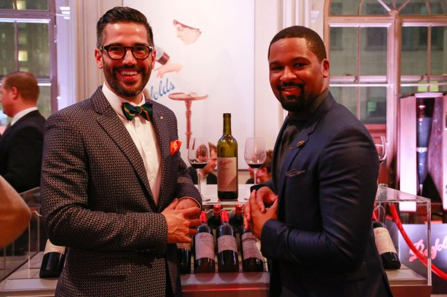 The Lamb's Club's, A.J. Ojeda-Pons, 2014 Best Dress Sommelier, and DLynn Proctor, Penfolds Brand Ambassador, strike a pose at the 2014 #BestDressedSomm judging event in New York.