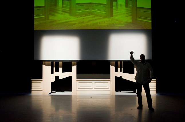 Walid Raad. Scratching on things I could disavow: Walkthrough. 2011. Performance, Kustenfestivaldesarts, Les Halles de Schaerbeek, Brussels, 2011. Photo © Piet Janssens