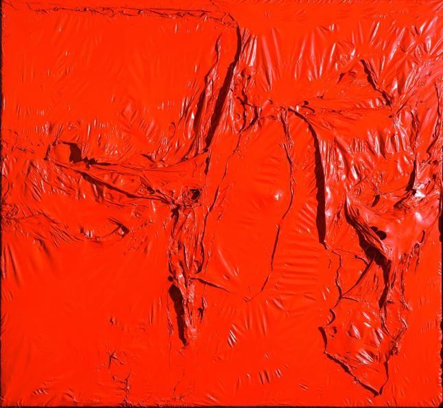 Rosso plastica (Red Plastic), 1961 Plastic (PVC), acrylic, and combustion on plastic (PE) and black fabric, 142 x 153 cm Modern Art Foundation © Fondazione Palazzo Albizzini Collezione Burri, Città di Castello/2015 Artist Rights Society (ARS), New York/SIAE, Rome Photo: Massimo Napoli, Rome, courtesy Modern Art Foundation