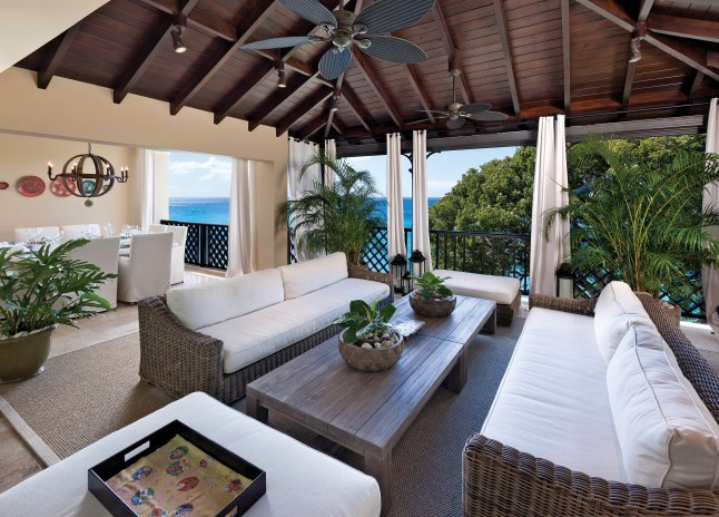 Langara Penthouse Terrace, Blue Sky Luxury: Langara's 6,500 square feet of elegantly appointed indoor spaces open seamlessly to the furnished terraces with views of the Caribbean and the Platinum Coast of Barbados.
