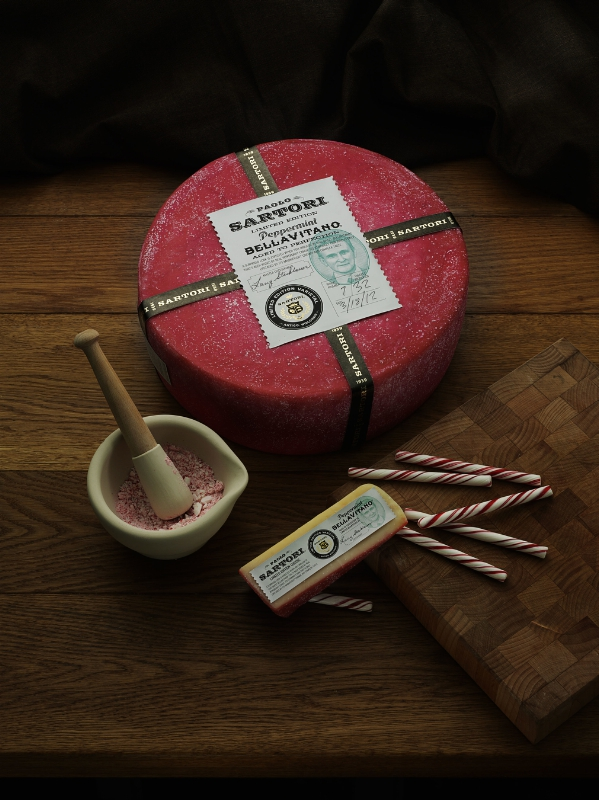 Sartori Cheese releases their Limited Edition Peppermint BellaVitano in support of Breast Cancer Awareness Month. (PRNewsFoto/Sartori Company)