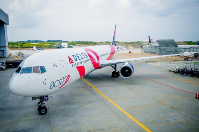 """Delta recently repainted its iconic """"Pink Plane"""" in advance of the airline's 11th Annual """"Breast Cancer One"""" survivor flight. (PRNewsFoto/Delta Air Lines)"""