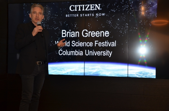 "Brian Greene is a professor at Columbia University, and the Cofounder and Chairman of the World Science Festival joined us to speak about ""Time and Einstein"". (PRNewsFoto/Citizen Watch Company of America)"
