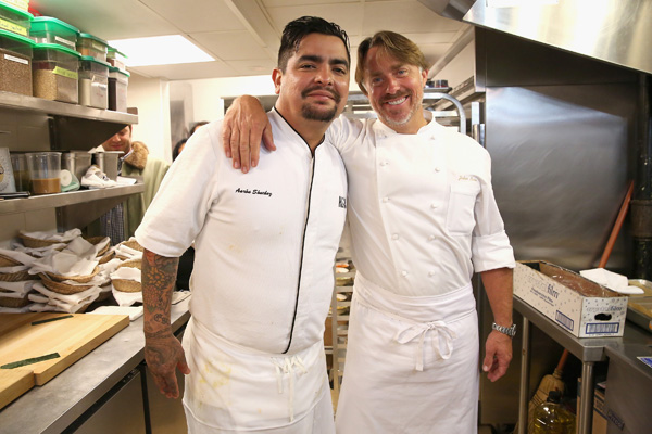 NEW YORK, NY - OCTOBER 16:  Chefs Aaron Sanchez (L) and John Besh pose at the Johnny Sanchez Dinner hosted by John Besh, Aaron Sanchez and Katy Sparks as a part of the Bank of America Dinner Series during the New York City Wine & Food Festival at Tavern On The Green on October 16, 2014 in New York City.  (Photo by Mireya Acierto/Getty Images for NYCWFF) *** Local Caption *** Aaron Sanchez; John Besh