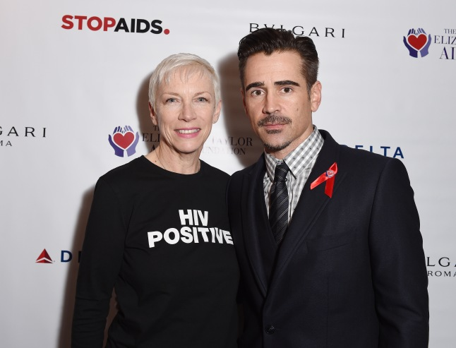 Annie Lennox and Colin Farrell at the press conference to announce a new push to fast-track the end of the AIDS epidemic in the Mulanje District of Malawi at Getty Images Gallery on October 12, 2015 in London, England. The initiative is being led by The Elizabeth Taylor AIDS Foundation and STOPAIDS. (Photo by Tabatha Fireman/Getty Images)