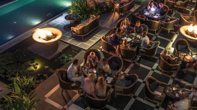 The sophisticated beach-club and restaurant, Sundara restaurant at Jimbaran Bay