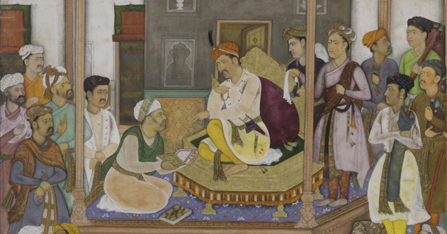 Govardhan (attrib.), Abu al-Fazl Presenting the Akbarnama to Akbar, from the Akbarnama (detail), Mughal India, ca. 1600–1603. (C) The Trustees of the Chester Beatty Library, Dublin (In 03.176b).