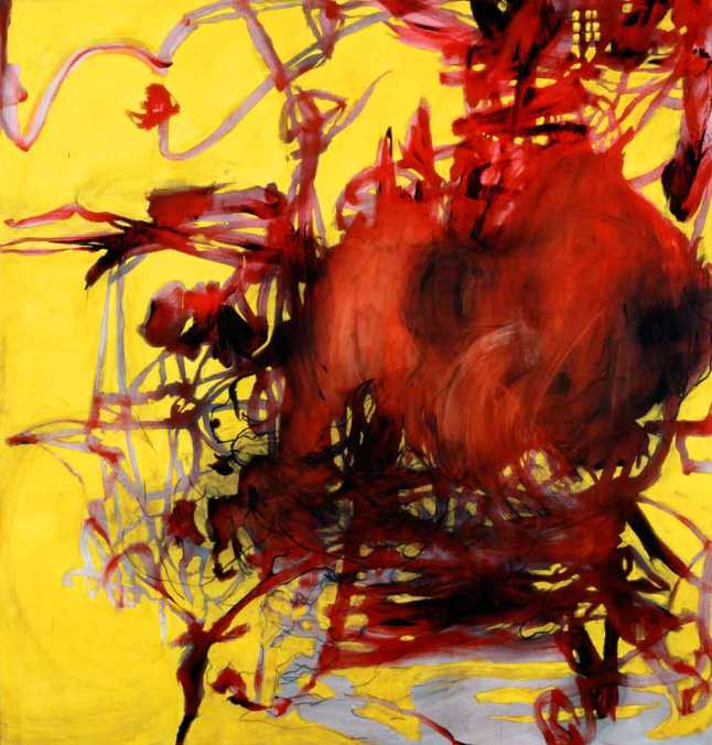Charline von Heyl, Boogey, 2004. Acrylic, oil, and charcoal on canvas, 82 1/16 × 78 1/8 (208.4 × 198.4) Promised gift of Thea Westreich Wagner and Ethan Wagner P.2011.472