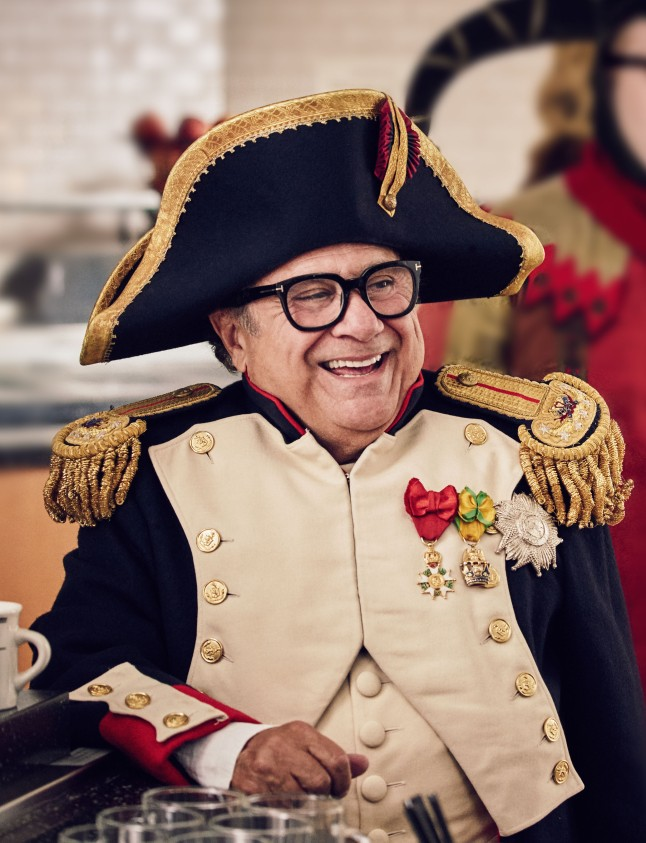 "Danny DeVito on the set of the new Nespresso ""Experience a cup above"" advertising shoot in Los Angeles, CA"