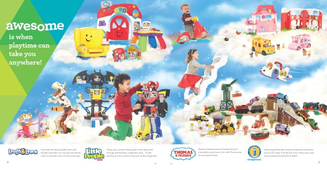 Fisher-Price: This is one of eight spreads within The Great Big Toys'R'Us Book of Awesome that has interactive capabilities with the company's all-new app, The Geoffrey Shuffle