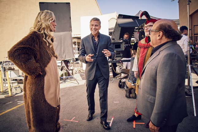 """George Clooney and Danny DeVito on the set of the new Nespresso """"Experience a cup above"""" advertising shoot in Los Angeles, CA"""