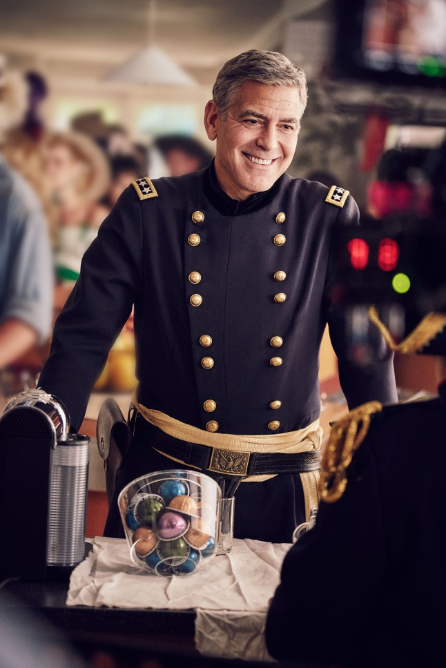"""George Clooney on the set of the new Nespresso """"Experience a cup above"""" advertising shoot in Los Angeles, CA"""