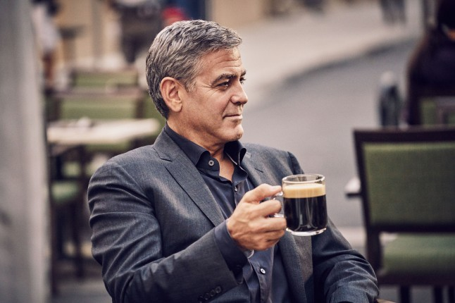 George Clooney on the set of the new Nespresso 'Experience a cup above' advertising shoot in Los Angeles, CA