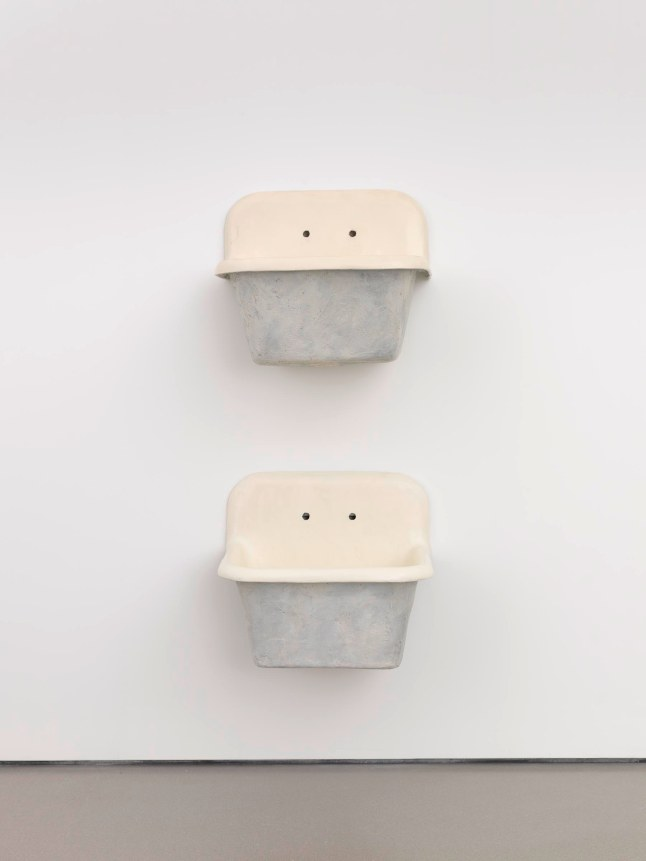 Robert Gober, The Ascending Sink, 1985. Plaster, wood, wire lath, steel, and enamel, two parts: 92 × 38 × 27 (233.7 × 96.5 × 68.6) overall. Promised gift of Thea Westreich Wagner and Ethan Wagner P.2011.167