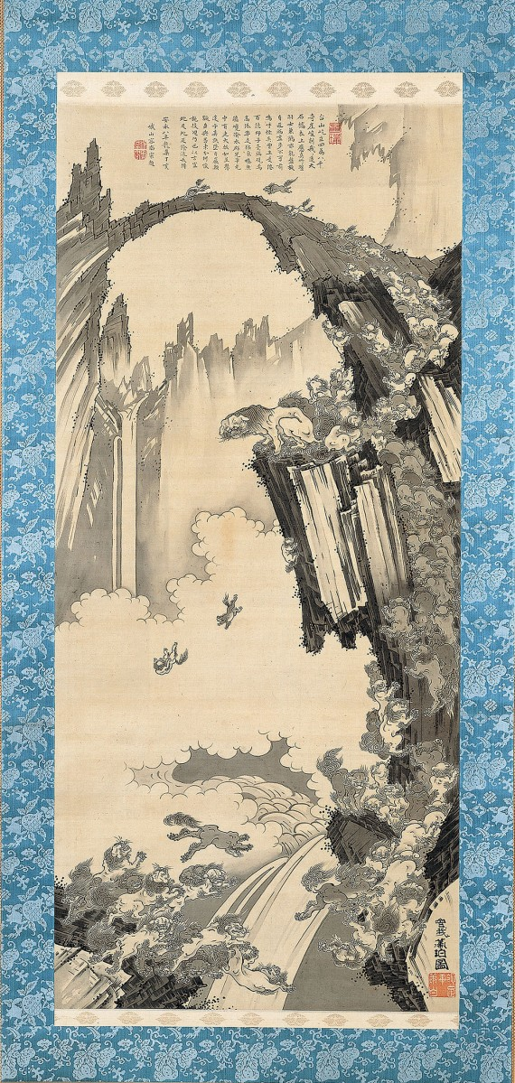 Soga Shohaku, Japanese, 1730–1781, Lions at the Stone Bridge of Tendaisan Japan, Edo period (1615–1868), 1779. Hanging scroll; ink on silk Image: 44 7/8 in. × 20 in. (114 × 50.8 cm). Overall with mounting: 79 × 25 1/2 in. (200.7 × 64.8 cm) The Metropolitan Museum of Art, Mary Griggs Burke Collection, Gift of The Mary andJackson Burke Foundation, 2015. Photo: Courtesy of The Metropolitan Museum of Art