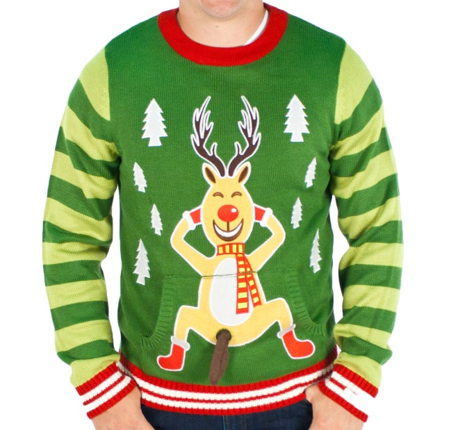 Men's Frisky Rudolph Naughty Sweater (Green)