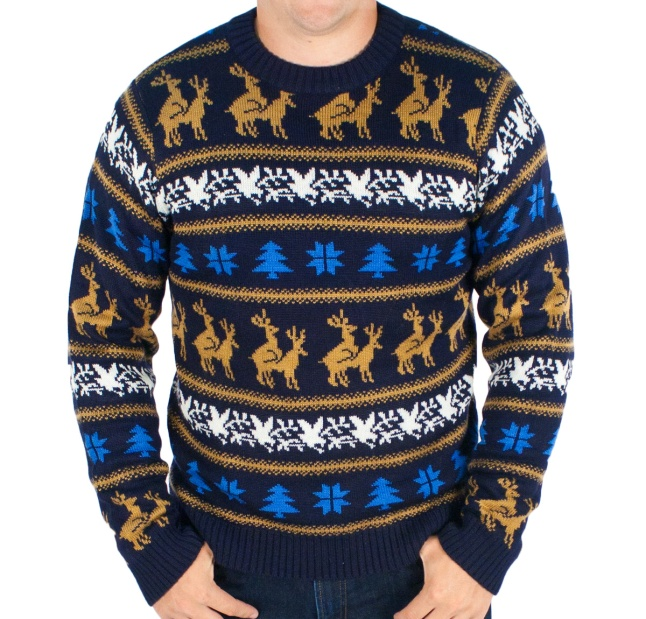 Men's  Retro Humping Reindeer Sweater (Navy)
